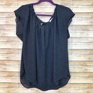 LC Lauren Conrad pleated tie back blouse